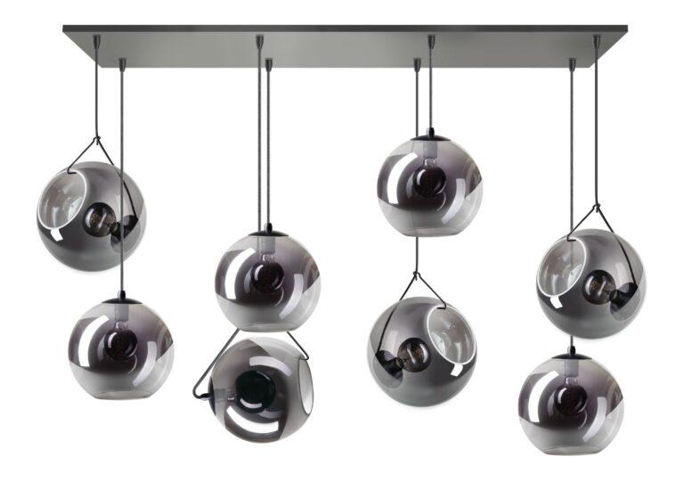 Orb balk hanglamp 8x E27 smoke glas 25cm glas / zwart 130x30cm (BESTAAT UIT 3 DOZEN)
