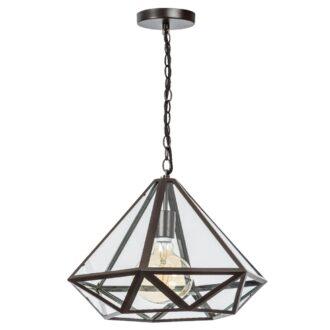 Fame hanglamp 1x E27 matt coffee / helder glas