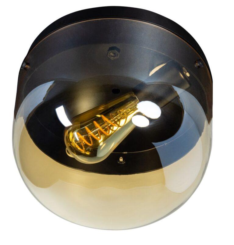 Dopp plafondlamp 1xe27 zwart met licht amber glas H185xD240