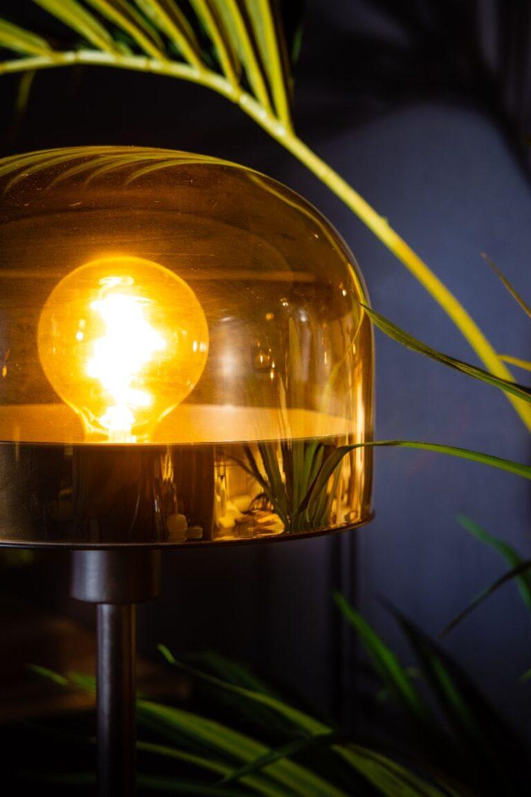 Dopp tafellamp 1xe27 zwart met licht amber glas H430xD240mm