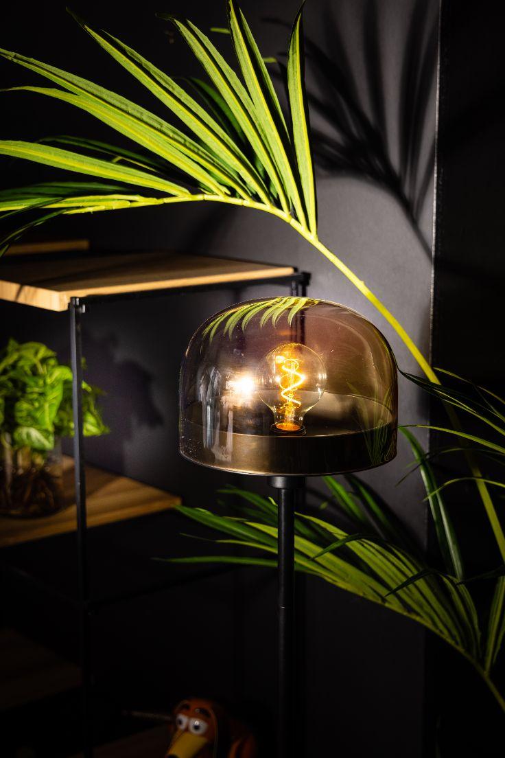 Dopp vloerlamp 1xe27 zwart met licht amber glas h1500xd280