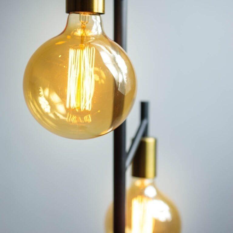 Tree vloerlamp 2 x E27 zwart / koper