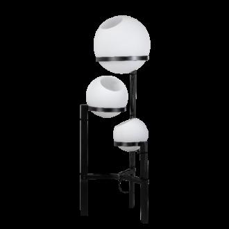 Orb Opal vloerlamp 3x E27 opaal glas 25-30-40cm / zwart H140cm