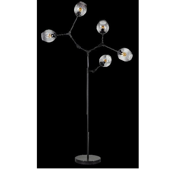 Lime vloerlamp 5x E27 met smoke glas kleur zwart H170xW90