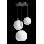 Orb Opal hanglamp 3x E27 opaal glas 20-25-30cm / zwart