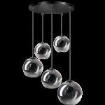 Orb hanglamp 5x E27 smoke glas 2x20-2x25-30cm / zwart 50cm ronde plaat / kabel 3.5 meter