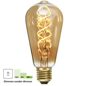 Een Led lamp die gebaseerd is op de ouderwetse lamp. Lichtkleur: extra warm wit (2200K) 6 watt – 3 watt – 1,5 watt (260 – 130 – 65 lumen) Met de 3 stap Dimming techniek kunt u in drie fases dimmen met de reeds aanwezige aan- en uitschakelaar. Deze technologie is in de ledlamp ingebouwd en hierdoor heeft u geen extra dimmer of installatie nodig. Bij Step Dimming is het mogelijk om de lichtbron te branden op 100%, 50% en 20%. In een gedimde stand verbruikt u ook nog eens minder energie. LET OP! werkt niet met een dimmer Garantie: 3 jaar Fitting: E27 85% energiebesparing Levensduur: 20.000 branduren 20.000 keer aan/uit schakelen