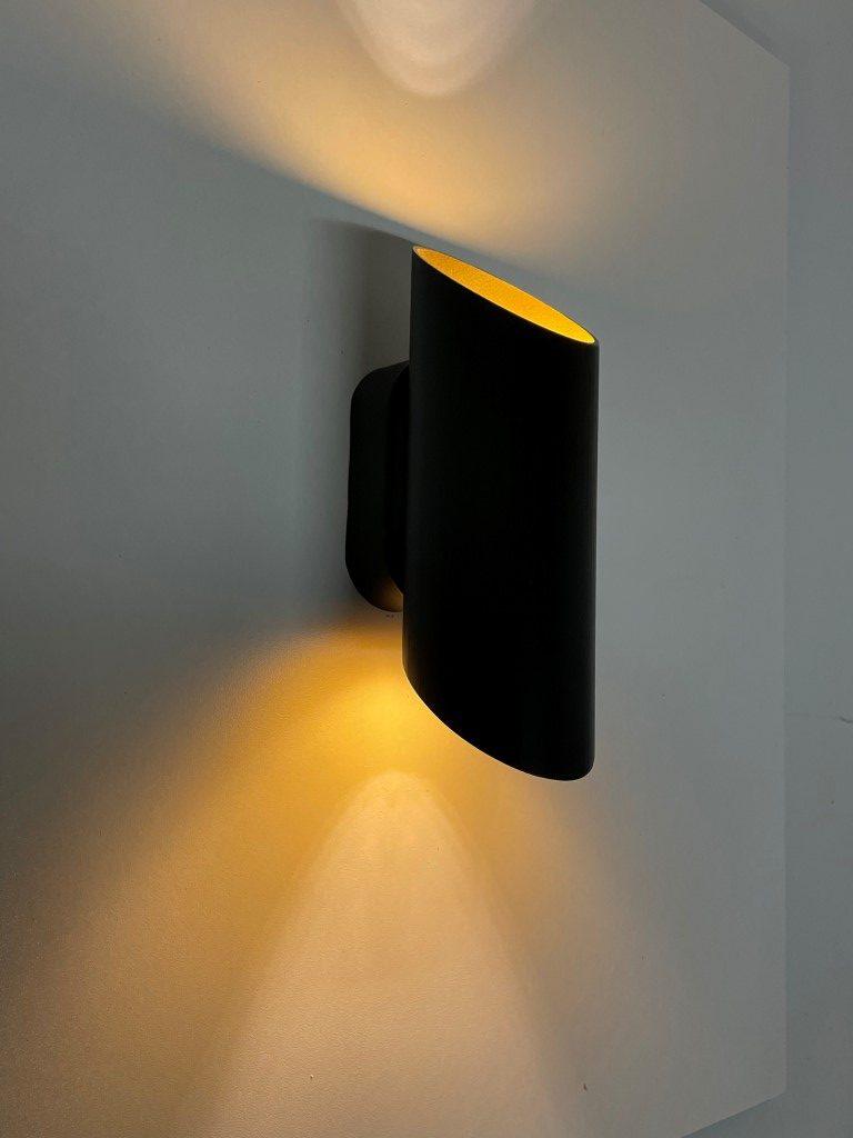 Wandlamp Cilinder zwart + goud