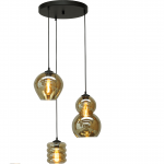Hanglamp Quinto rond 3 lichts smoke